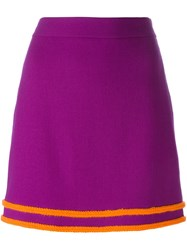 Boutique Moschino Contrast Trim A Line Skirt Pink And Purple
