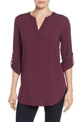 Pleione Women's Split Neck Roll Sleeve Tunic Purple Nectar