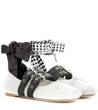 Miu Miu Buckle Embellished Patent Leather Ballerinas White