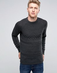 Another Influence Cable Knit Jumper Grey