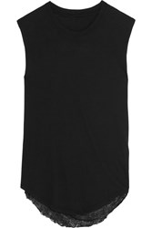 Raquel Allegra Draped Back Distressed Cotton Blend Jersey Tank Black