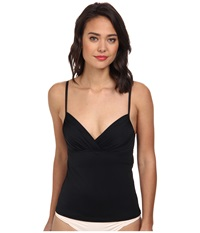 Badgley Mischka Solid Shirred Underwire Tankini Top Black Women's Swimwear
