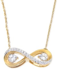 Macy's Diamond Infinity Pendant Necklace 1 3 Ct. T.W. In 14K Gold Yellow Gold