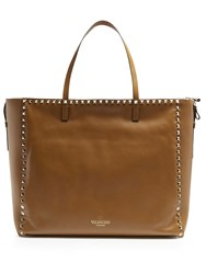 Valentino Rockstud Untitled 12 Leather Tote Tan