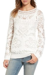 Hinge Women's Drop Stitch Cotton Blend Sweater Ivory Cloud