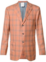 Kiton Plaid Blazer Yellow Orange