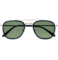 Moscot Macher Round Frame Acetate And Gold Tone Sunglasses Black