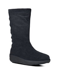 Fitflop Loaff Tm Slouchy Suede Mid Calf Boots Navy Blue