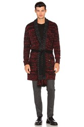 Scotch And Soda Cardigan With Shawl Collar Fringes Red