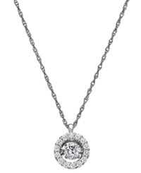 Twinkling Diamond Star Diamond Halo Pendant Necklace In 14K White Gold 5 8 Ct. T.W.