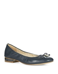Anne Klein Petrica Leather Bow Tie Flats Navy
