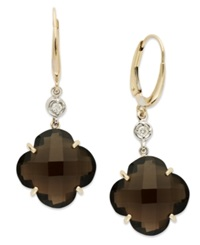 Macy's 14K Gold Earrings Smokey Topaz 16 Ct. T.W. And Diamond Accent Earrings Brown