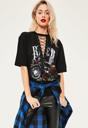 Missguided Black Lace Up Rose Graphic T Shirt