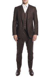 Strong Suit By Ilaria Urbinati Hank Slim Fit Three Piece Plaid Wool Nordstrom Exclusive Brown Plaid