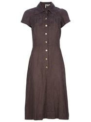 Ken Scott Vintage Jacquard Shirt Dress Brown