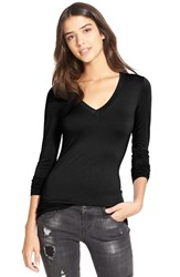 Junior Women's Soprano Long Sleeve V Neck Tee Black
