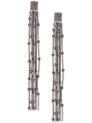 Brunello Cucinelli Long Chain Earrings Silver
