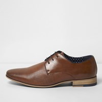 River Island Tan Textured Lace Up Formal Shoes