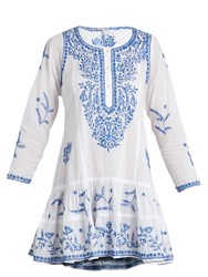 Juliet Dunn Round Neck Embroidered Cotton Voile Dress White Multi