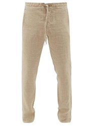 120 Lino Drawstring Waist Relaxed Fit Linen Trousers Beige