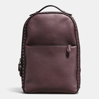 Coach Western Rivets Metropolitan Soft Backpack In Polished Pebble Leather Dk Oxblood
