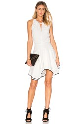 Halston Key Hole Flounce Tank Dress White