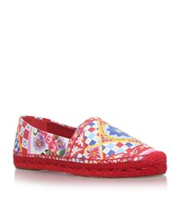 Dolce And Gabbana Printed Carret Espadrilles Female Red