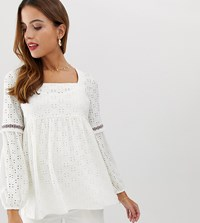 Mamalicious Maternity Broderie Square Neck Smock Top White