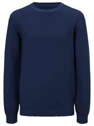 John Lewis And Co. Made In Italy Cotton Moss Crew Neck Jumper Airforce Blue