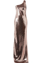 Tom Ford One Shoulder Sequined Tulle Gown Antique Rose