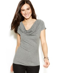 Studio M Short Sleeve Cowl Neck Top Heather Steel