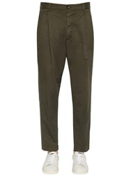 Dsquared 16.5Cm Pleated Cotton Canvas Pants Army Green
