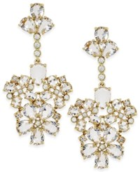 Kate Spade New York Gold Tone White Crystal Chandelier Earrings