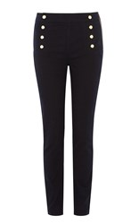 Karen Millen Button Detail Legging Denim Indigo