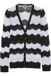 M Missoni Crochet Knit Cotton Blend Cardigan Black