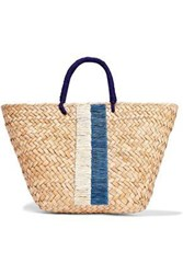 Kayu Woman Taylor Embroidered Woven Straw Tote Navy