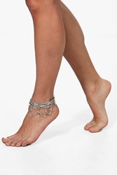 Boohoo Boutique Layered Chain Detail Anklet Silver