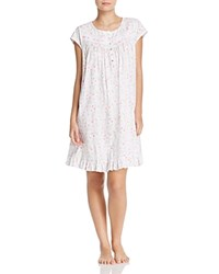 Eileen West Short Sleeve Short Nightgown White Ground Floral Toss