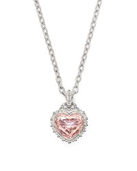 Judith Ripka Rapture Heart Pendant Necklace With Pink Crystal 17 Pink Silver