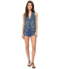 Luli Fama Blue Kiss Hoodie Romper Electric Blue Women's Jumpsuit And Rompers One Piece