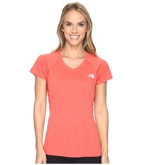 The North Face Initiative Short Sleeve Shirt Cayenne Red Heather Women's Short Sleeve Pullover Orange