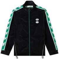 Off White Velour Taped Track Top Black