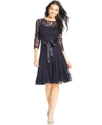 Msk Illusion Floral Lace Dress Navy