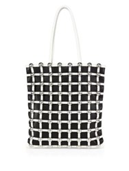 Alexander Wang Studded Cage Colorblock Leather Tote Black White