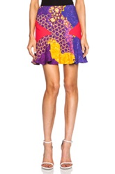 Peter Pilotto Mini Flared Viscose Blend Skirt In Purple Abstract