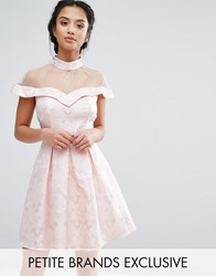 Chi Chi Petite London Mesh High Neck Off Shoulder Mini Prom Dress In Paisley Jacquard Pink