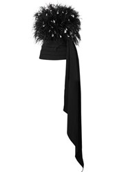 Oscar De La Renta Strapless Draped Feather Embellished Tulle And Ruched Wool Blend Top Black