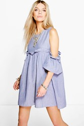 Boohoo Chambray Frill Dress Pale Blue