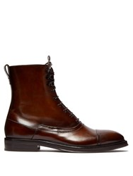 Berluti Burnished Leather Lace Up Boots Brown Multi