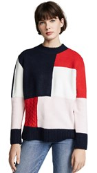 English Factory Patchwork Knit Sweater Carbon Blue